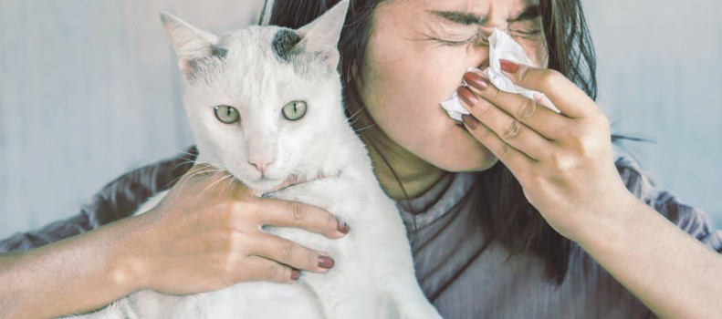 Mujer con alergia a los gatos
